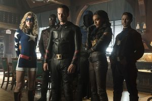 "DC's Legends of Tomorrow --""The Justice Society of America""-- Image LGN202b_0207.jpg -- Pictured: (L-R): Sarah Grey as Stargirl, Kwesi Ameyaw as Dr. Mid-Nite, Patrick J. Adams as Hourman, Dan Payne as Obsidian, Maisie Richardson-Sellers as Amaya Jiwe/Vixen and Matthew MacCaull as Commander Steel -- Photo: Katie Yu/The CW -- © 2016 The CW Network, LLC. All Rights Reserved."